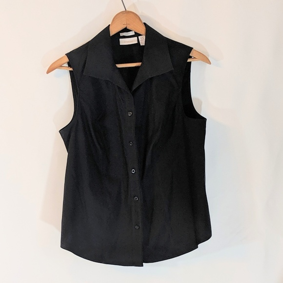 Chico's Tops - Black Chico's Sleeveless Button Down No Iron Top